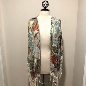 Jackets & Blazers - LAST ONE Paisley Kimono Cover Up Fringe Detail